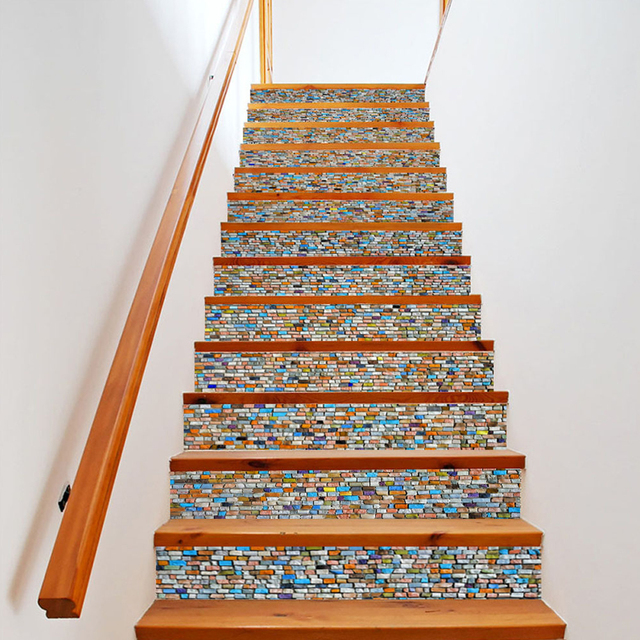 Yazi 6PCS Self Adhesive Stair Sticker PVC Waterproof Vinyl Stairs  Refurbished Wall Sticker Stairway Decor