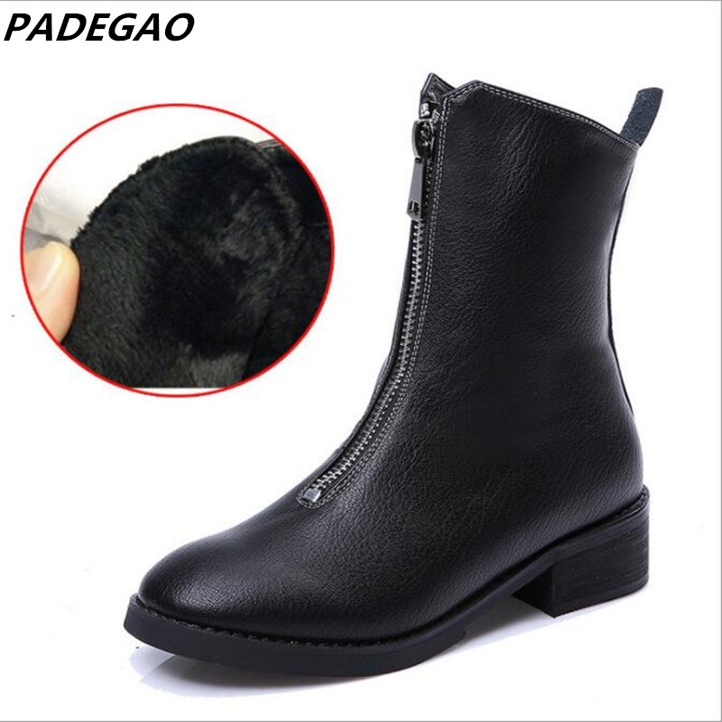 PADEGAO fashion New casual zipper ankle boots genuine leather round toe platform martin boots autumn winter women snow boots рюкзаки zipit рюкзак shell backpacks
