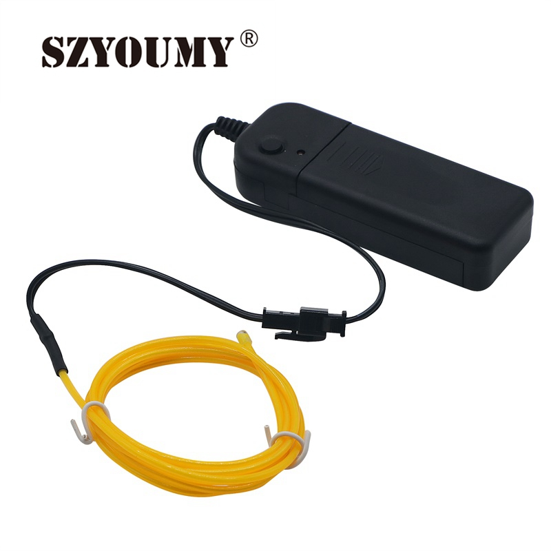 SZYOUMY Flexible Neon Cold Light String EL Wire Tube Rope 1m 2AA Battery Powered LED Light With Controller For Wedding Party Dec