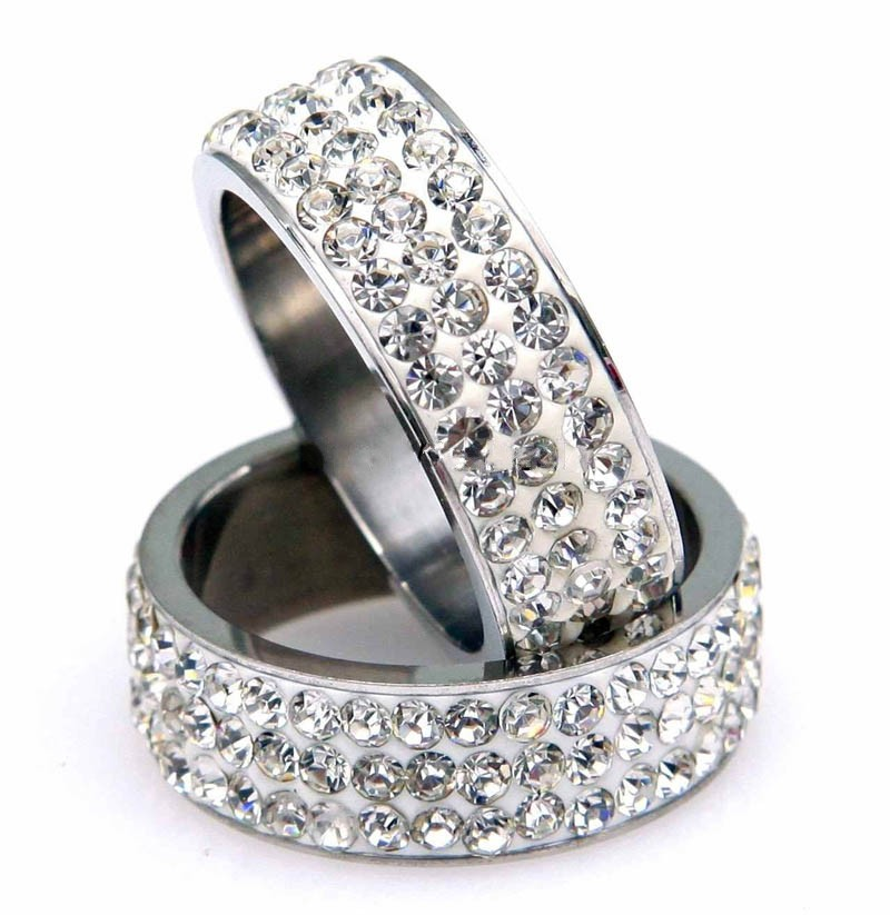 Austrian Crystal 3-Row Pave 114 Titanium Steel Rings Men and Women Rings For Jewelry Making