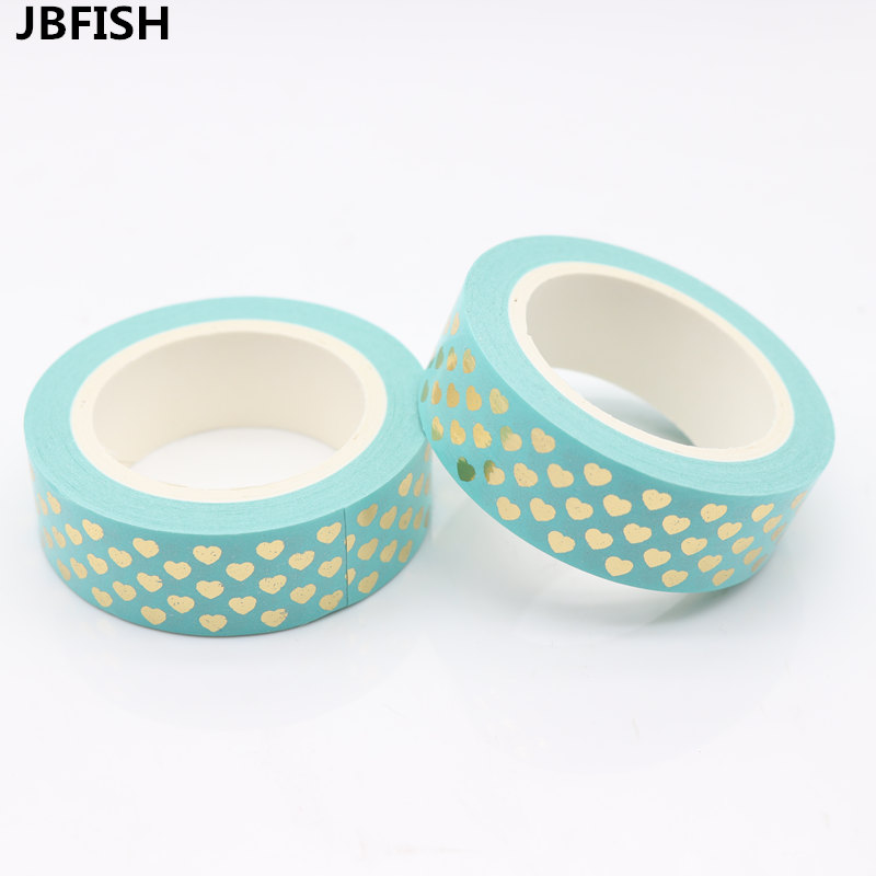 JBFISH Japanese Gold Foil Washi Tape Decorative Adhesive Tapes Love Heart pattern Masking Paper Tape Diary Sticker Gif 1027 glitter gold silver foil printing washi tape christmas card washi decorative adhesive tape masking paper tape scrapbook gif
