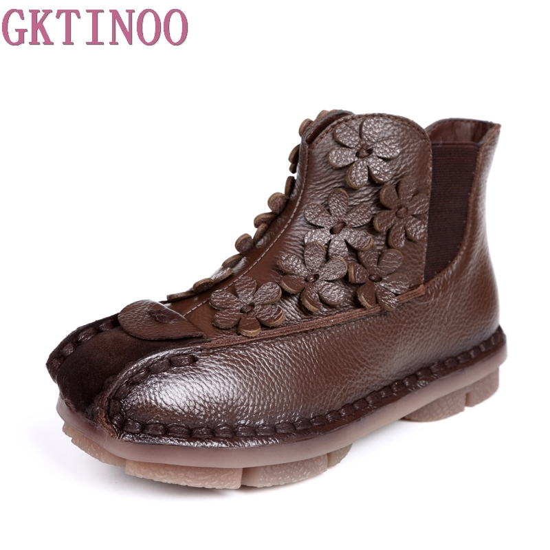 Genuine Leather Boots 2017 New Winter Flat Retro Ankle Boots Women Shoes Female Soft Non Slip Bottom Warm Shoes autumn and winter new personality retro cowhide ankle boots handsome female waterproof platform genuine leather women shoes 9731