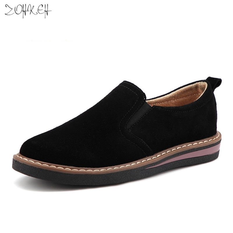 Cow   Suede     Leather   Women Oxford Shoes Spring Ladies Flats Sneakers Loafers Casual Shoe Autumn Boat Shoes 2019 Moccasin Plus Size