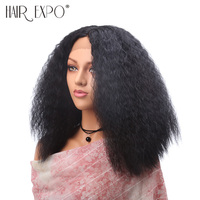 16inch Kinky Curly Wig Synthetic Lace Front Wig Natural Hair African American Wigs For Women Hair Expo City
