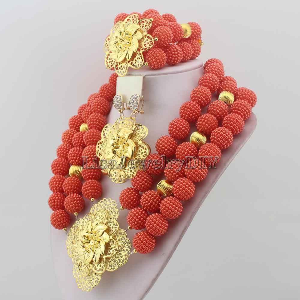 وصل حديثا قلادة الزفاف مجموعة نيجيريا قلادة الخرز الأفريقي مجموعة مجوهرات النساء الكلاسيكية HD7043
