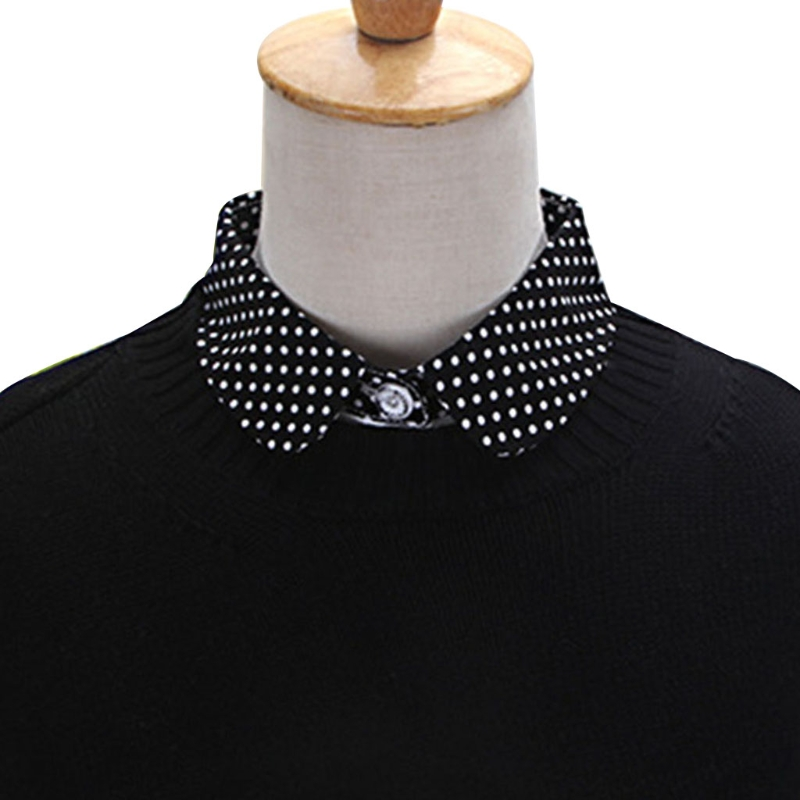 Stylish Matchable Collar Women Pure Color Wave Point Pattern Lapel Choker Necklace Shirt Fake False Collar New