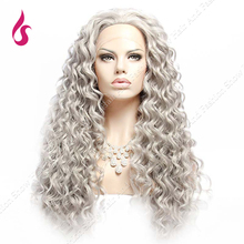 Curly Hair Style Grey Color Curly Wig Heat Resistant Synthetic Lace Front  Wigs Cheap Cosplay Style Wigs!