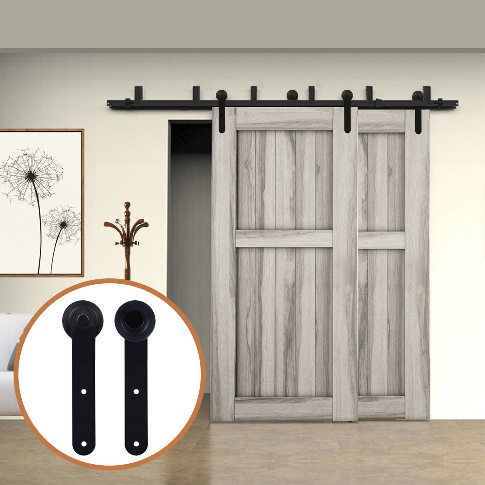 LWZH Rustic Wood Door Bypass System Sliding Barn Door Hardware Kit Black Round Shaped Rollers Track Rail For Bypass Barn Door