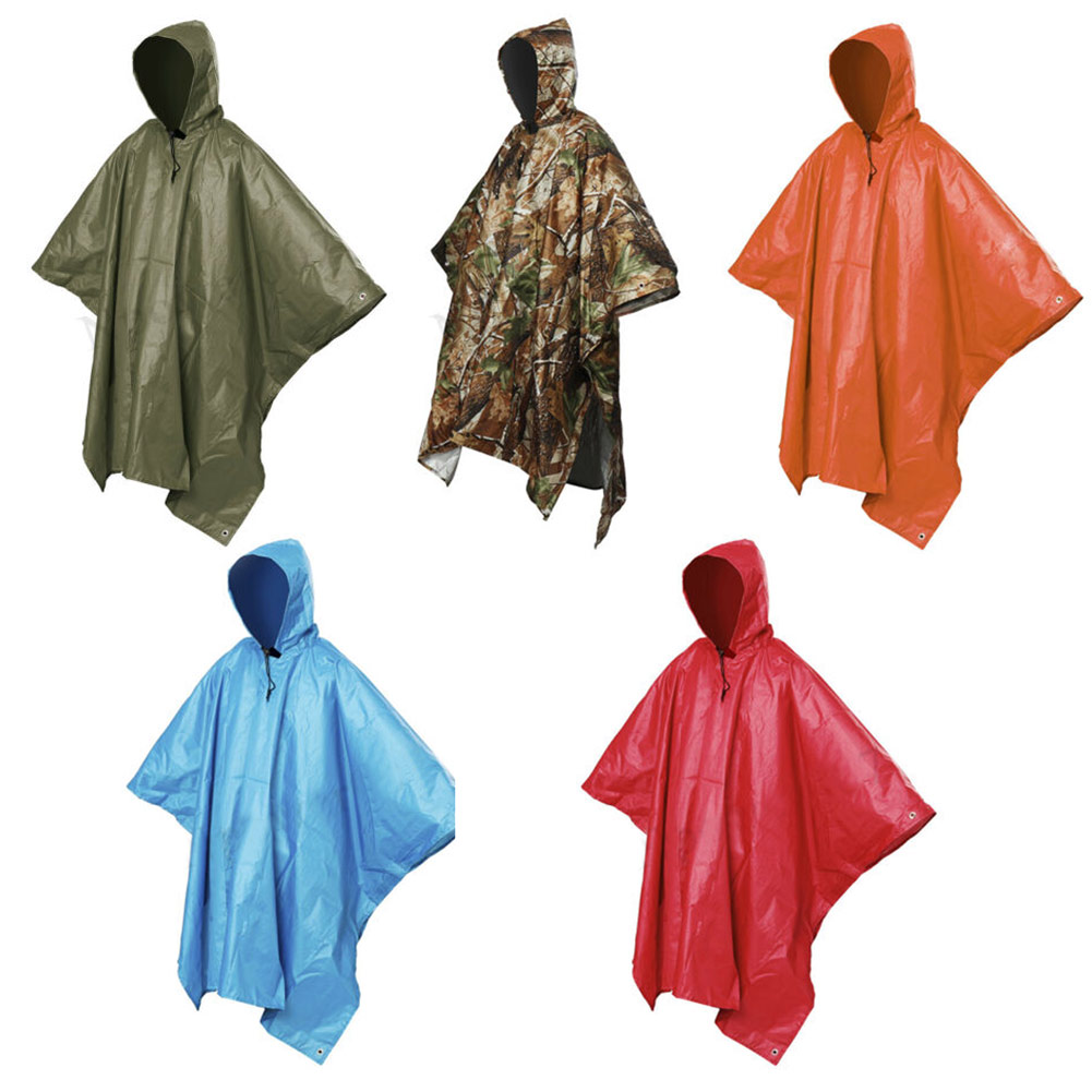 Waterproof One-Piece Rain Coat Poncho Cape Tarp For Camping Hiking Multifunctional Rain Coat