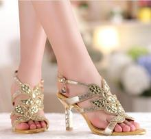 2015 New Sexy Pump Sandals Genuine Leather Ladies High Heel Sandals Women Rhinestone Shoes Rhinestone Sandals