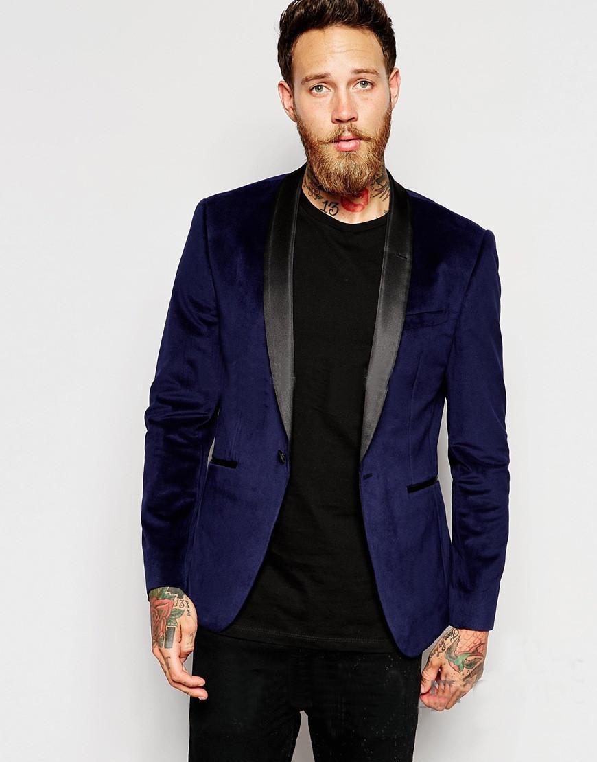 Navy Blue Velvet Slim Fit Groom Tuxedos Shawl Lapel