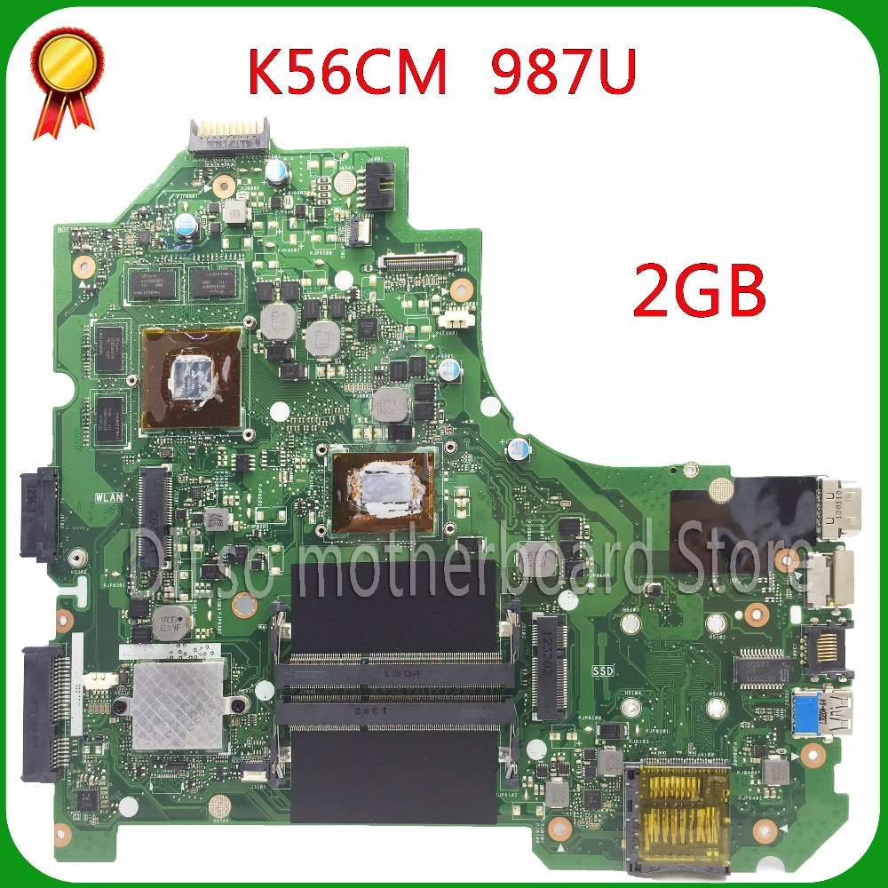 все цены на  For ASUS K56CB K56CM A56C S550CM Laptop Motherboard  987 CPU PM K56CM motherboard with 2G viedo card  original new 100% tested  онлайн