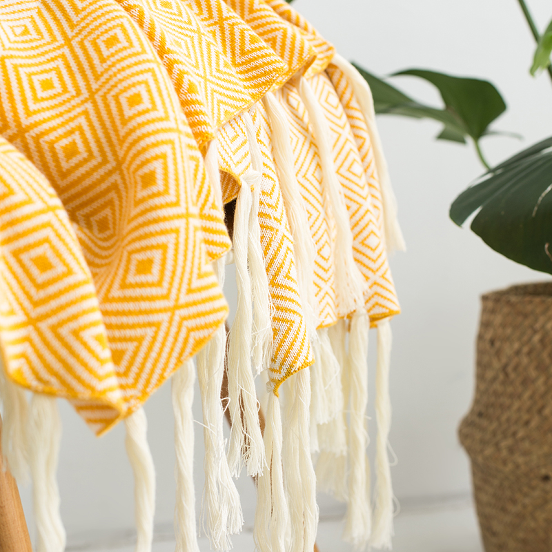 cotton plaid blanket for bed sofa aircondition chunky knit weighted throw with tassels adult summer solid Bedspread in Blankets from Home Garden