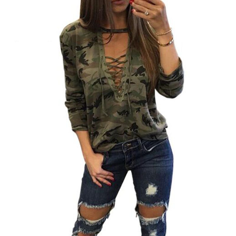 Camouflage Print Women Long Sleeve Slim T-Shirt Fashion V-Neck Lace-up Lady Sexy Tops Army Style Casual Female TShirt Tee