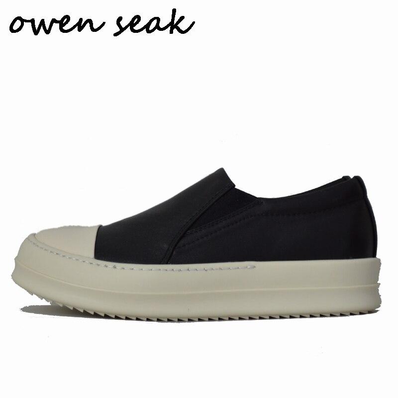 Ayakk.'ten Erkek Rahat Ayakkabılar'de Owen Seak Erkekler loafer ayakkabılar Lüks Eğitmenler Hakiki Deri Rahat Sonbahar Erkekler Daireler Siyah Beyaz Spor Ayakkabı Büyük Boy Ayakkabı'da  Grup 1