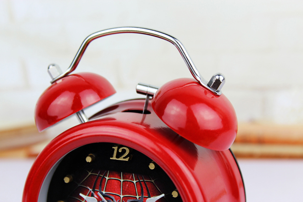 Mode Red Cobweb Style 3D Logam Bell Jam Alarm Minimalis Desktop Jam - Dekorasi rumah - Foto 6