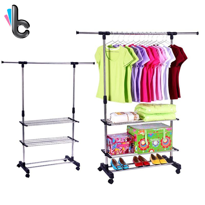 Clothes Rack Adjustable Garment Rack -with Wheels 3 Tiers Storage Shelves