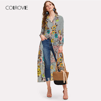COLROVIE Multicolor Plus Size V Neck Vertical Striped Floral Long Blouse Shirt 2018 Autumn New Stand Collar Feminine Blouse Tops