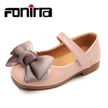 New Style Stylish Children's Bow-knot Shoes Spring Autumn Big Girls Beautiful Leather Shoes Flat Casual Shoes For Girls 371 stylish floral big bow girls dress
