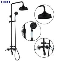 50267 New Bathroom Oil Rubbed Bronze Swivel Round 8 Rainfall Shower Head Heldhead Shower Faucet Set