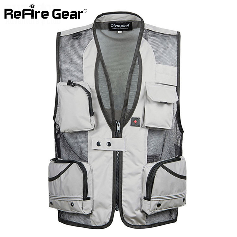 Refire Gear Fast Dry Fishing Vest Men Summer Sleeveless Tactical Outdoor Waistcoat Pockets Photography Hiking Clothes XL-4XL