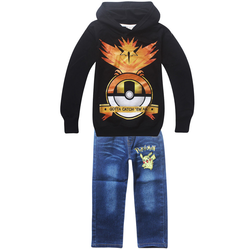 2017 Children Kids girls Clothing Sets Autumn Winter Sets Hooded T shirts Suits pokemon Baby Boys girls t-shirt+Pant Clothes set hot sale 2016 kids boys girls summer tops baby t shirts fashion leaf print sleeveless kniting tee baby clothes children t shirt
