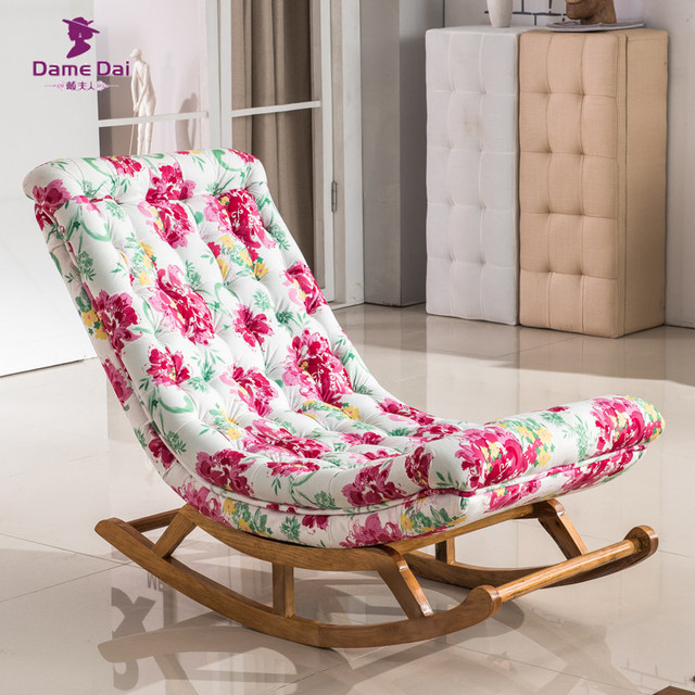 Vintage Rocking Chair Fabric Upholstery Classical Luxury French Style Furniture Living Room Adult Relax