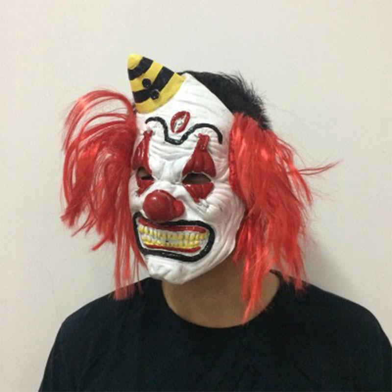 Unisex Men Women Mask Adult Scary Latex Horror Clown Halloween Masks Red Hair Masquerade ...