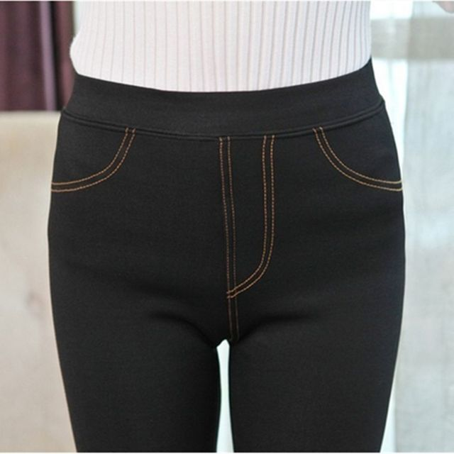 Hot Denim Leggings Shaped Thick Velvet Matte Pencil Pants Sexy Women Winter Warm