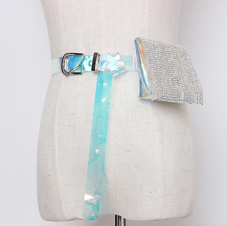 Women's Runway Fashion Blingbling Diamond Tassel Pvc Cummerbunds Female Dress Corsets Waistband Belts Decoration Wide Belt R1658