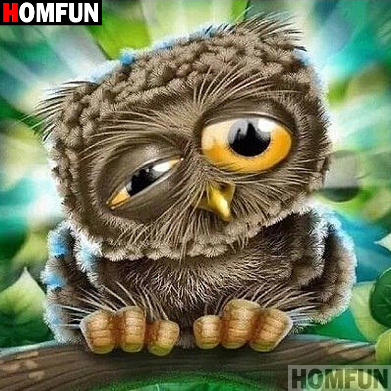 HOMFUN Full Square Round Drill 5D DIY Diamond Painting quot Cartoon owl quot Embroidery Cross Stitch 5D Home Decor A01825 in Diamond Painting Cross Stitch from Home amp Garden