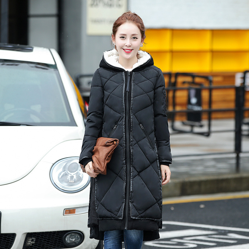 ФОТО Women's Winter Coats & Parkas 2017 Korean Hooded Warm Ladies Stitching Loose Long Parka Jacket For Femme Campera Abrigo MZ873
