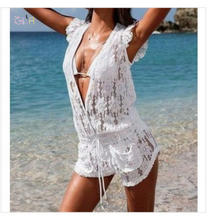 GDA. New Women Lace Jumpsuits V-neck Floral Printed Sexy Beach Bodysuits Plus Size 2XL Feminina Short Pants Women's Clothing