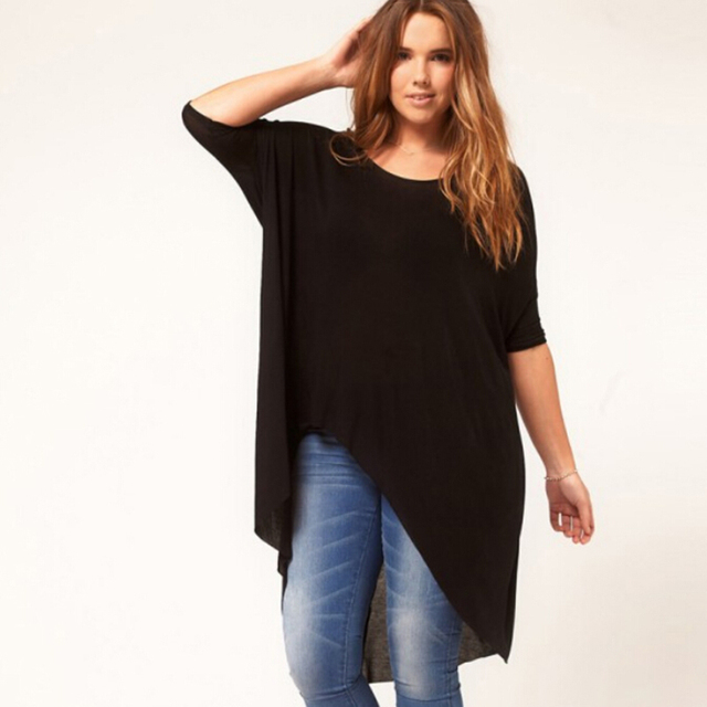 6XL Plus Size Women Irregular T shirt 5XL Black Large Big Size Female Tops 2016 Summer Modal Fashion Tops XXXL Casual Loose XXL