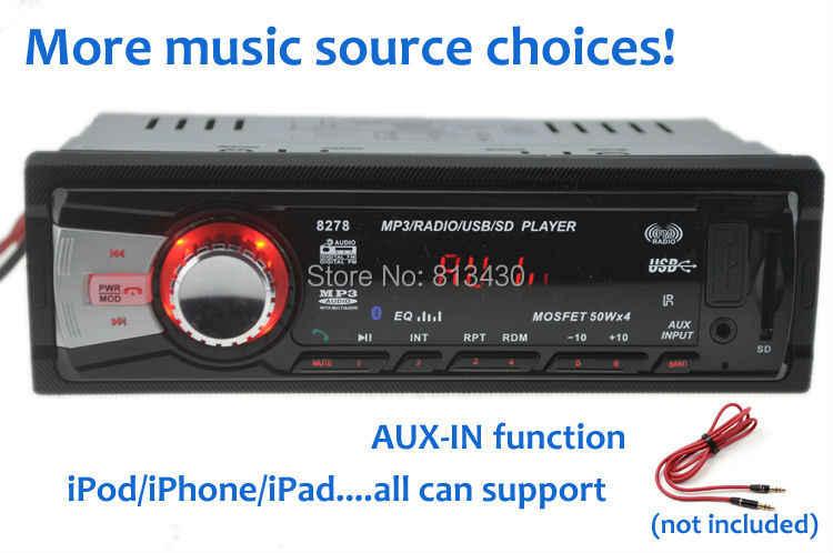 新到着! カーラジオ、カーステレオ 12 ボルト mp3 プレーヤー、カーオーディオ、サポート Bluetooth/SD カード/USB ポート/AUX IN/電話/1 ディンダッシュ