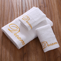 Cozzy Gold Dream Embroidery Absorbent and Soft Cotton Hotel Towel Set for Bathroom 3 piece (1 Bath Towel 2 Hand Towels/) White