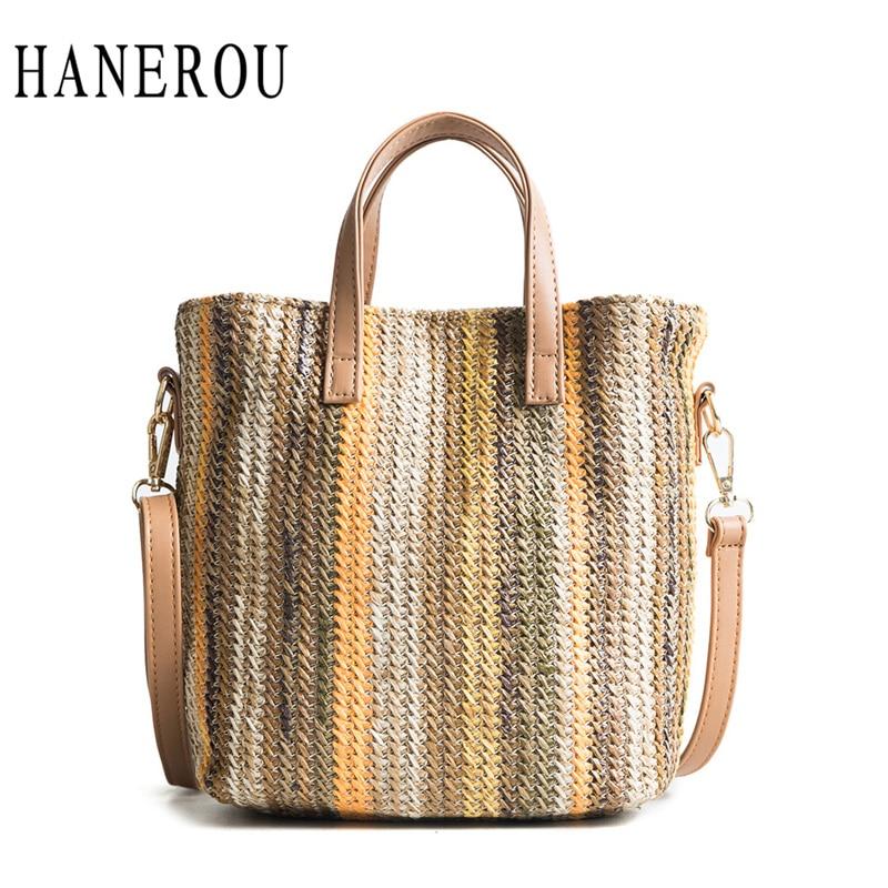 HANEROU 2018 New Fashion Straw Handbag Women Summer Rattan Bag Handmade Woven Beach Crossbody Bags For Women Bag Panelled Totes