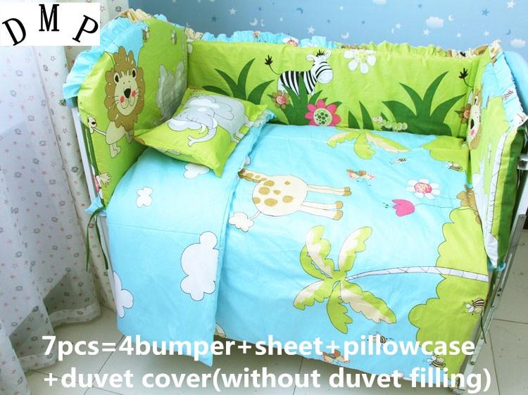 Promotion! 6/7PCS Cotton Baby Bedding Set Cartoon Crib Bedding Set for Girls Detachable Cot Quilt Cover , 120*60/120*70cm