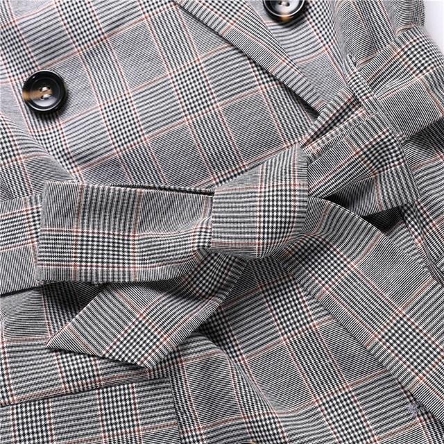 Casual Women Plaid Blazer Jacket Coat Belt Double Breasted Long Blazers Foraml Suit Casual Office Lady Wokr Wear Outwear chifave 4