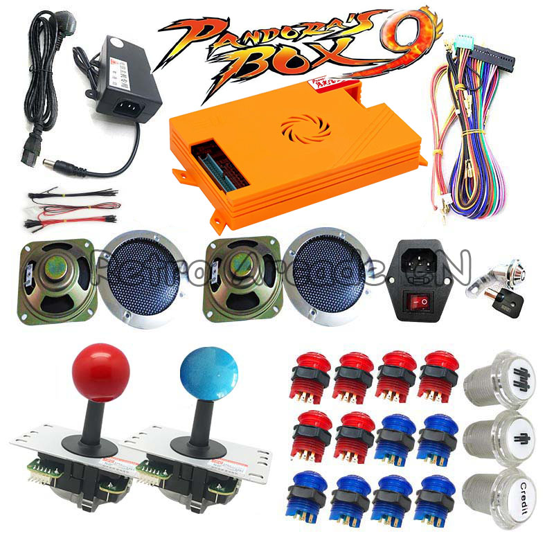 Arcade DIY kit with Pandora box 9 family version 1500 in 1 motherboard LED button copy