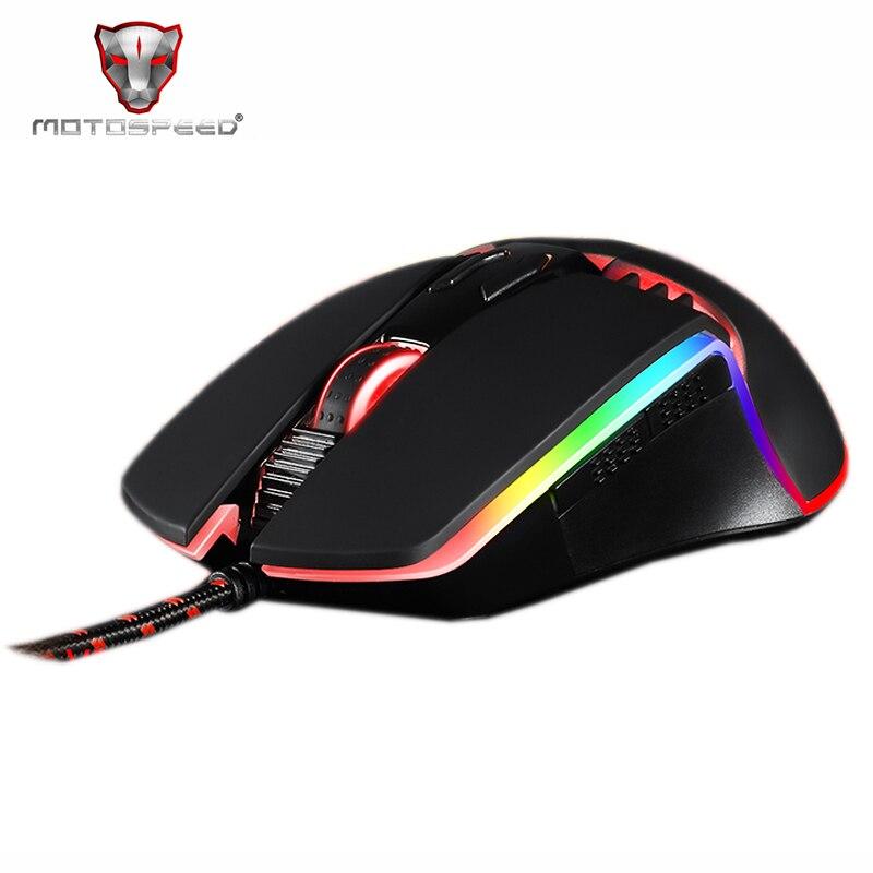 Led para pc Motovelocidade Programa 5000 Dpi Gaming Mouse Profissional Ajustável Usb Computador Wried Óptico Retroiluminado V20 Rgb Que