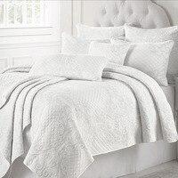 CHAUSUB Frankreich Tagesdecken Weiß Quilt Set 3 Stück Baumwolle Quilts Für Bett Bestickt Bett Abdeckung Kissen Shams Königin Größe Bettdecke-in Decken aus Heim und Garten bei