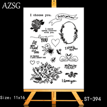 AZSG Swan Potted Plant Heart-shaped Clear Stamps For DIY Scrapbooking/Card Making/Album Decorative Silicone Stamp Crafts