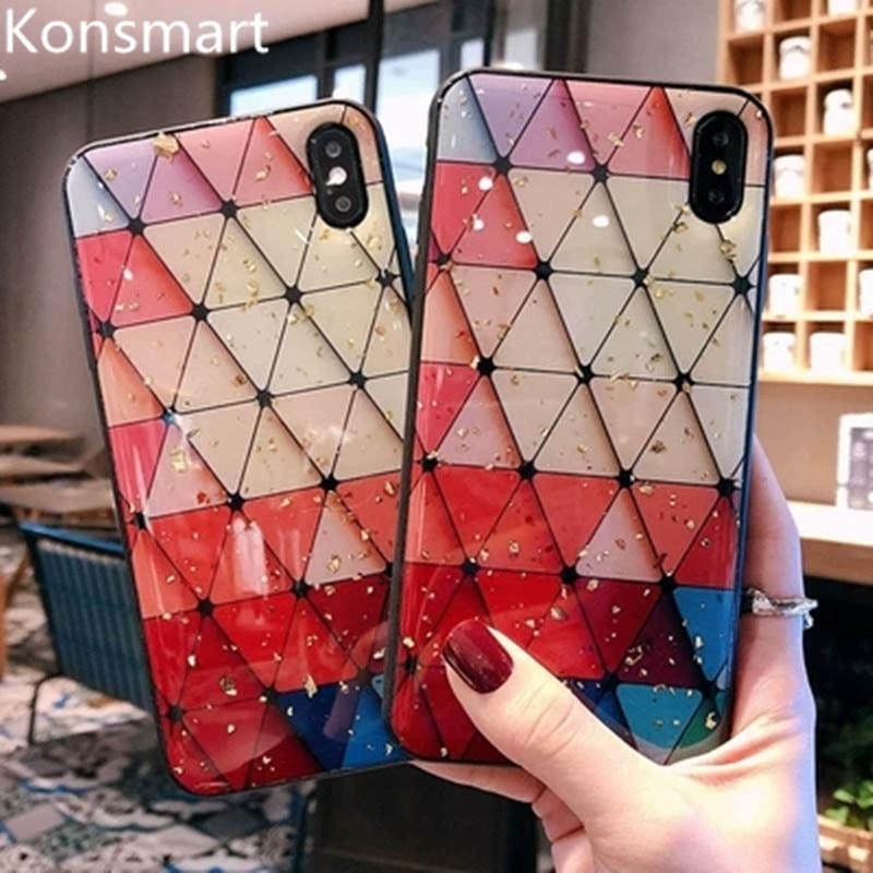 KONSMART Luxo Bling Glitter Para O iphone X XS MAX 8 P Caso TPU Funda Para Samsung Galaxy S10 7 s9 Nota 9 Silicone Tampa Traseira