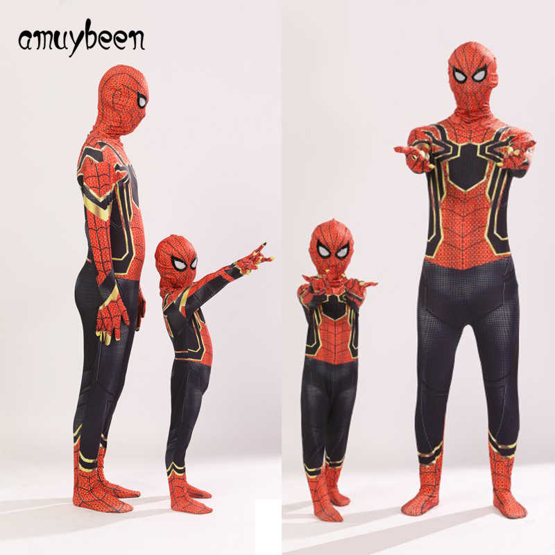 スパイダーマン3dプリント子供服セット2018タイツ用男の子スーパーヒーロー衣装レッドブルーブラック子供スパイダーマン帰郷スーツ