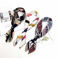 2019 bufanda de seda para mujer, con sensación de pelo, cuello, bufandas cuadradas para oficina, Impresión de Mozos de Hotel, azafatas, anillos de pañuelo