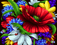 2017 Big Red Flower Picture On Wall Acrylic Paint By Numbers Diy Painting By Numbers Children