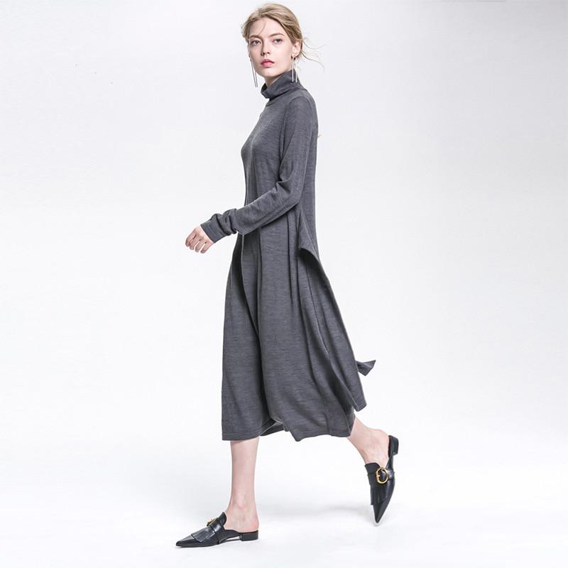 Pas cher grossiste 2018 mode vente chaude dames décontracté à manches longues robe belle chaude automne hiver pull en laine