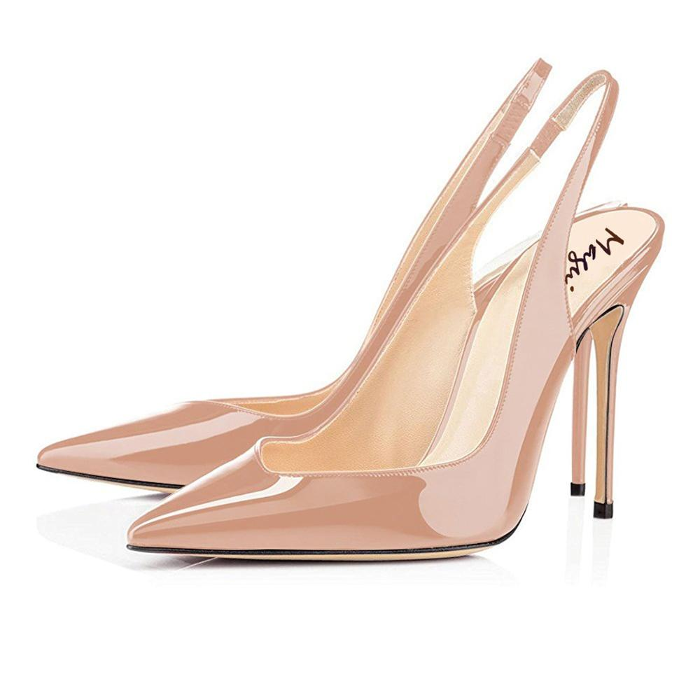 Maguidern Slingback Pumps Shoes,Patent Leather Pointy Toe 4 inches Stilettos Heel Slingback Pumps Dress Shoes Size US 4 to 15