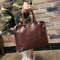 New Brand Men's Large Briefcase Vintage Crazy Horse PU Leather Briefcase Business Shoulder Bags Laptop Briefcase Bag XP787 Brown